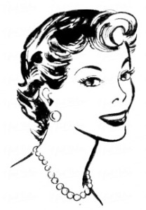 1950s stylized clip art of a woman, similar to the illustration I got in the 1990s in a flier from a local Baptist church