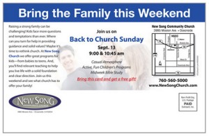 Bring the Family This Weekend - postcard sold to churches for marketing purposes. Won't make singles feel wanted, that's for sure