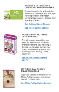Various Mother's Day material for churches to buy and mail to people or to display in church
