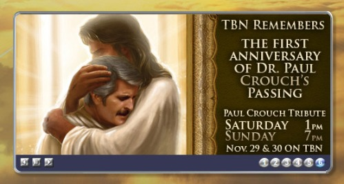 Weird painting of Paul Crouch being hugged by Jesus