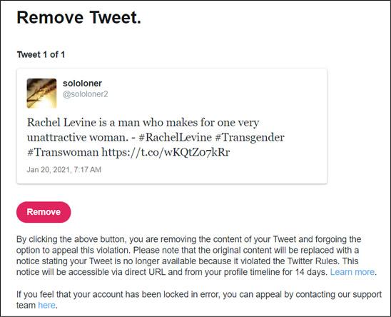 Full Screen Cap - Levine Tweet